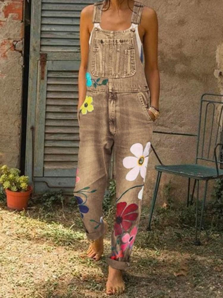 Casual Floral Full Length Loose Jumpsuit