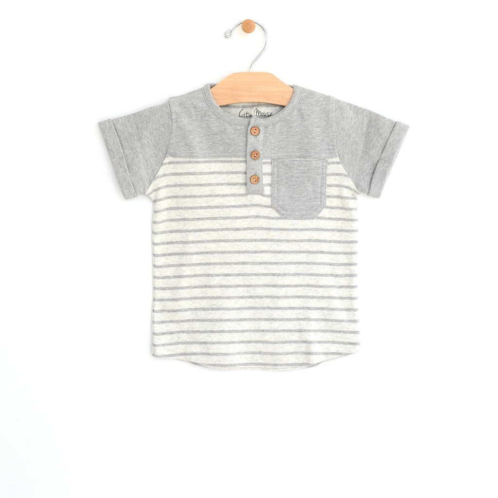 Pocket Henley Tee - Melange Stripe