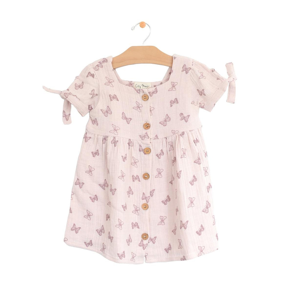 Muslin Square Neck Button Dress - Butterflies