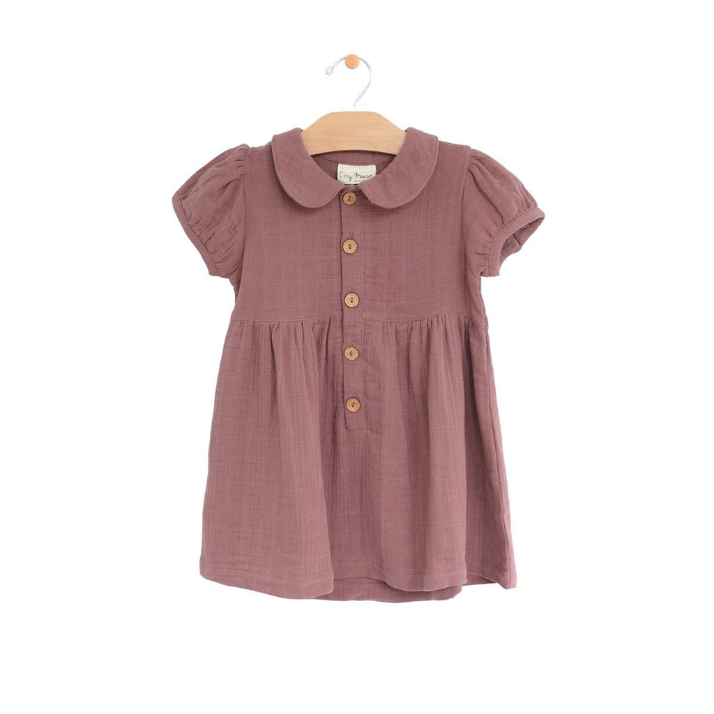 Muslin Button Dress - Mauve