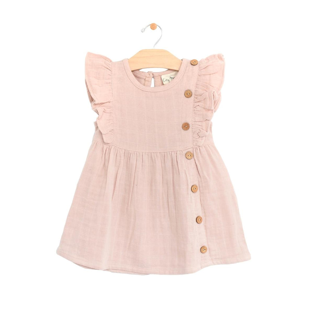 Muslin Side Flutter Button Dress