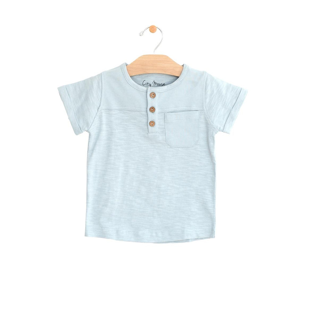 Pocket Henley Tee - Powder Blue