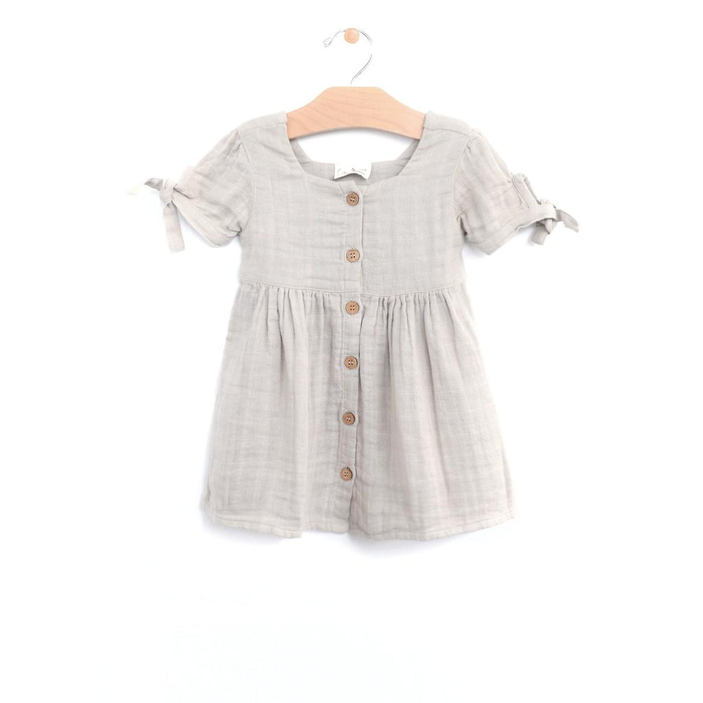Muslin Square Neck Button Dress - Rain Cloud