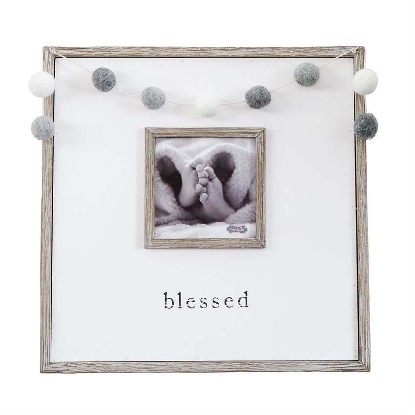 """Blessed"" Pom Garland Sign"
