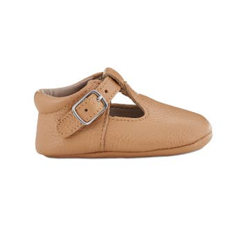 Caramel Soft-Soled Leather Mary Janes