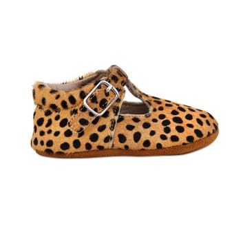 Leopard Soft-Soled Leather Mary Janes