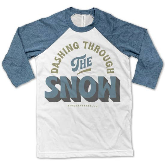 Dashing Through the Snow Baseball Tee
