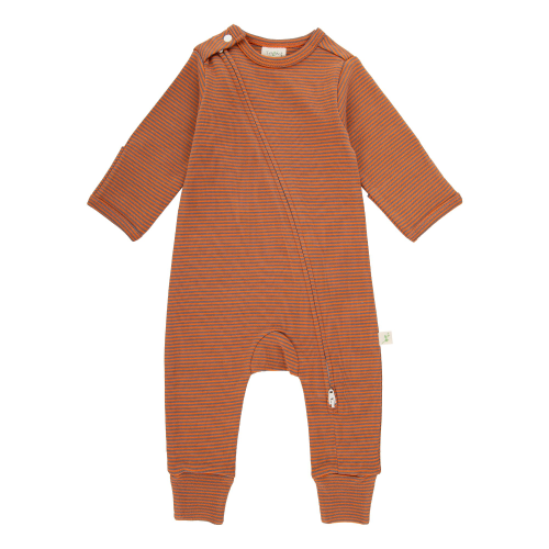 Long Sleeved Zipsuit - Rust Stripes