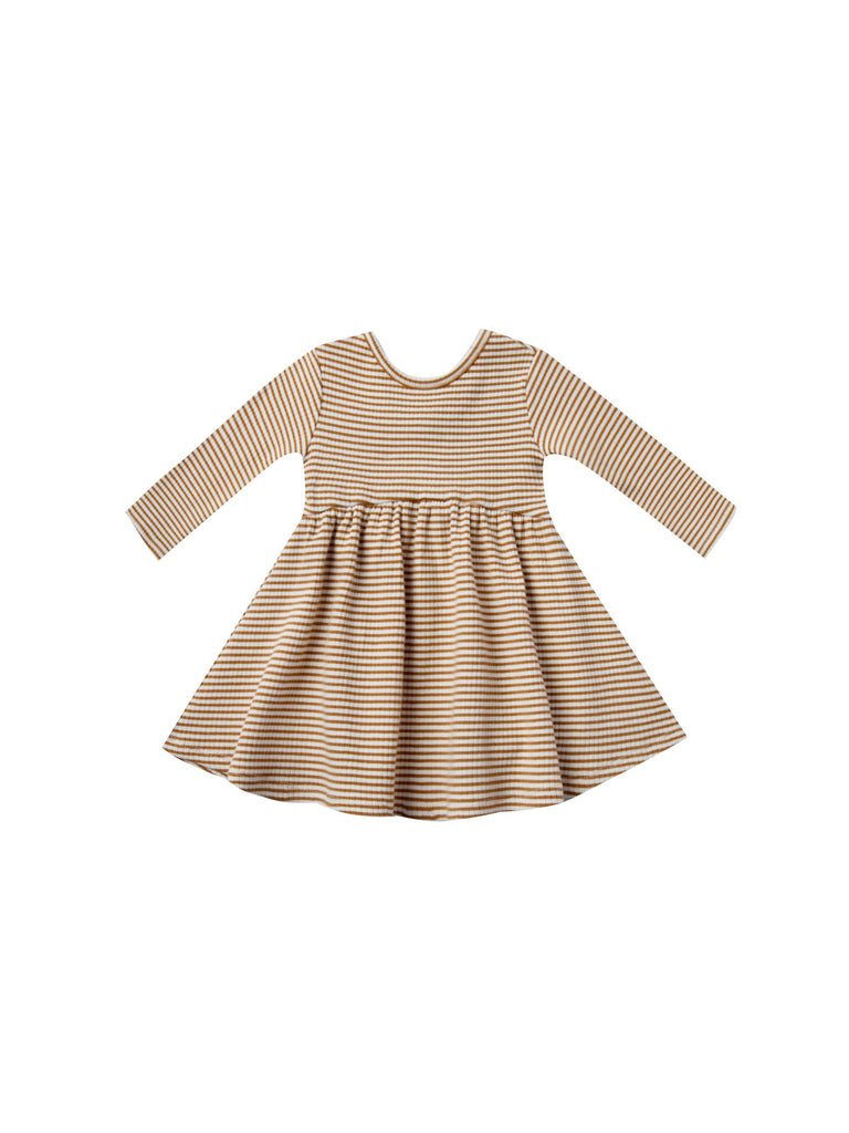 Ribbed Dress- Walnut Stripe