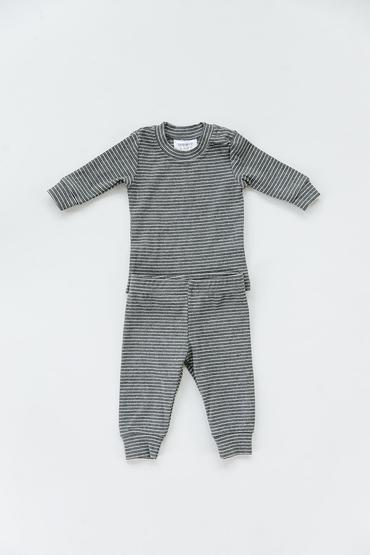 Stripped Ribbed Cozy Set - Grey