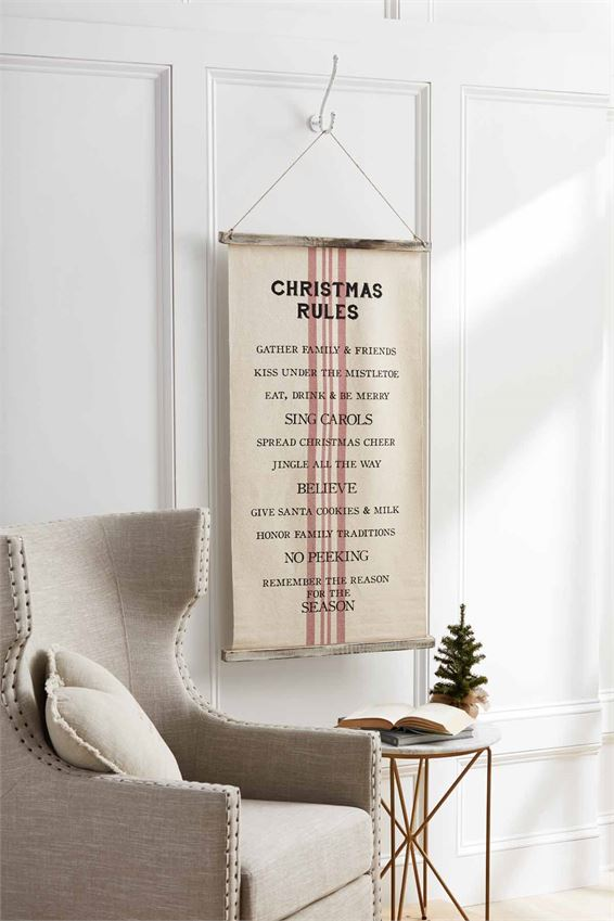 Christmas/Thanksgiving Rules Fabric Hanger