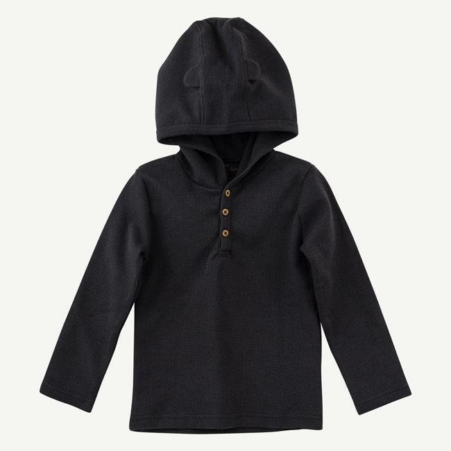 Charcoal Hooded Tee w/ Bear Ears