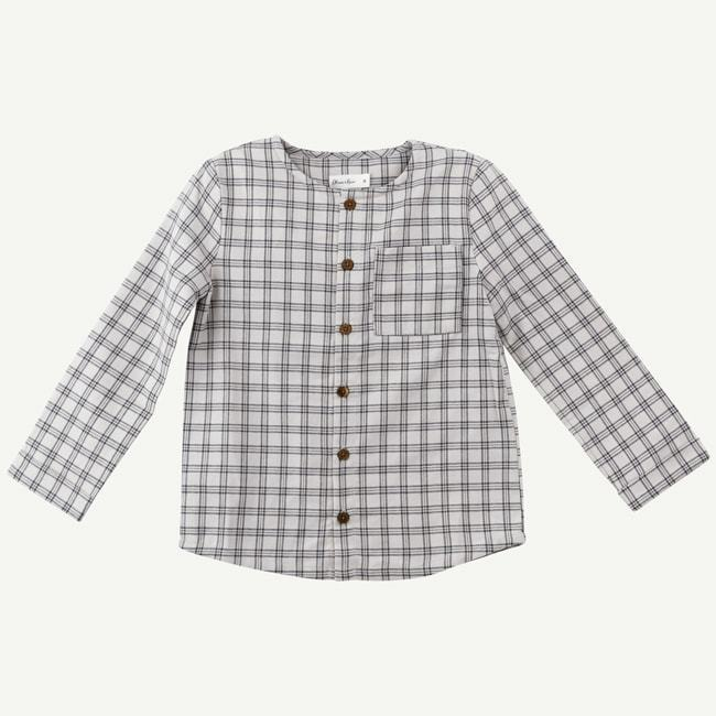 Gray Checkered Woven Top