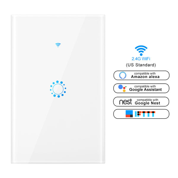 Smart WiFi Light Switch (US Size) Works with Google Home Alexa Echo/1,2,3Gang
