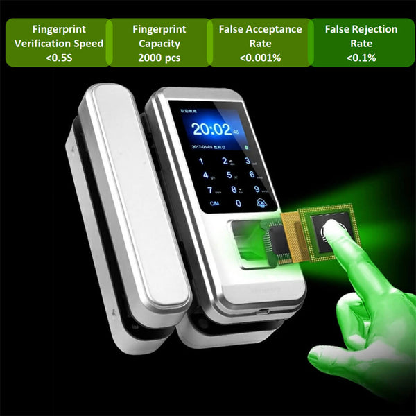 Fingerprint Lock for Framless Glass Door (Dual Open)