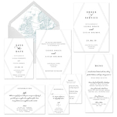 Mustard and Gray Betchcott Wedding Stationery Collection - Geometric Modern clean design wedding invitation