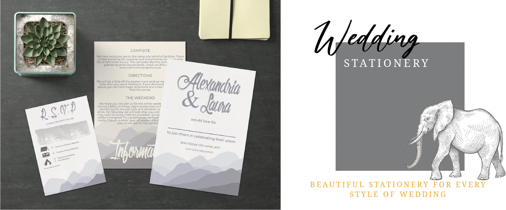 Mustard and Gray Wedding Stationery Hills design and flyer