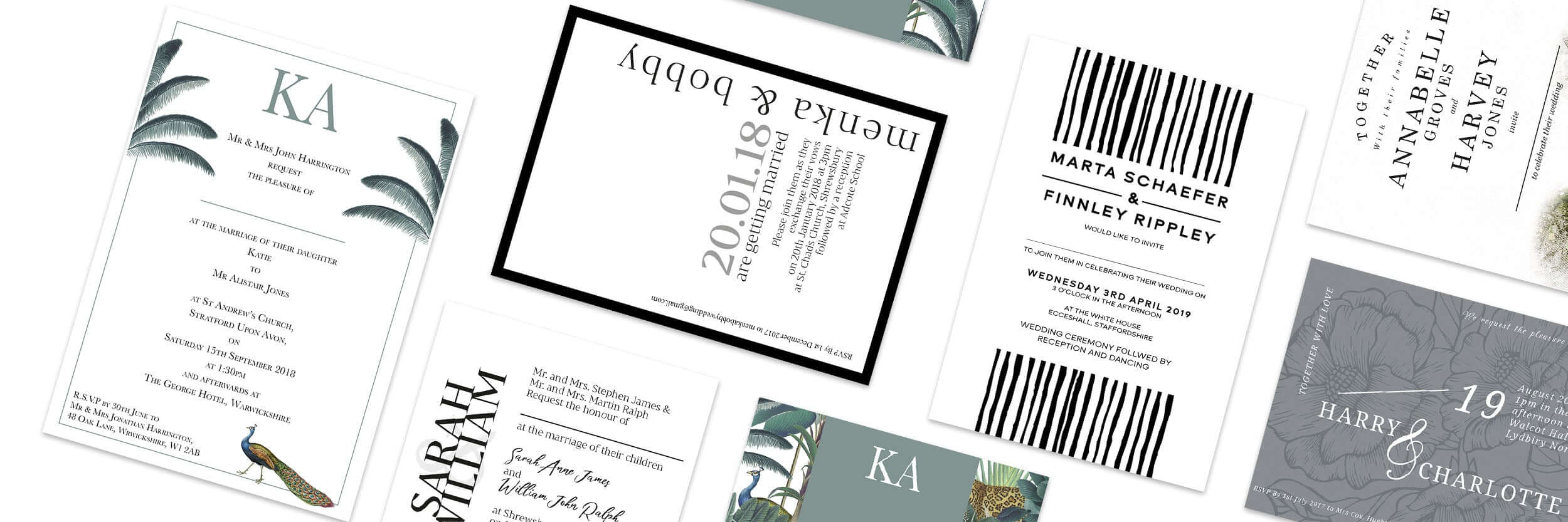 Mustard and Gray Wedding Stationery Collections - ranges of different invitation styles