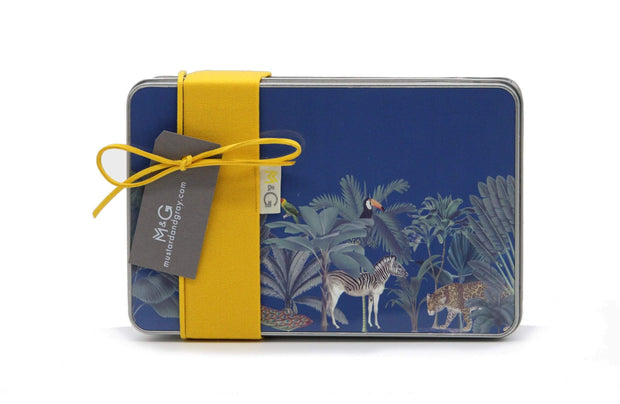 Darwin's Menagerie Navy Lunch Box - Childrens Bottles & Tins  Mustard and Gray Ltd Shropshire
