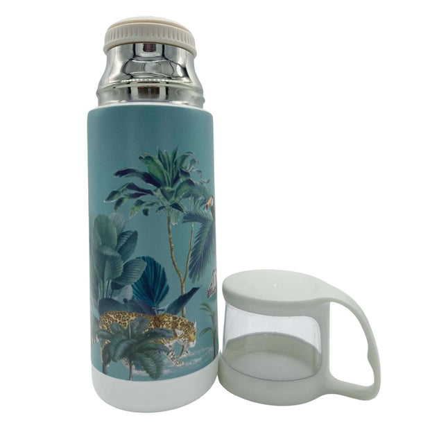 Darwin's Menagerie Scene Green Vintage Style Flask -   Mustard and Gray Ltd Shropshire