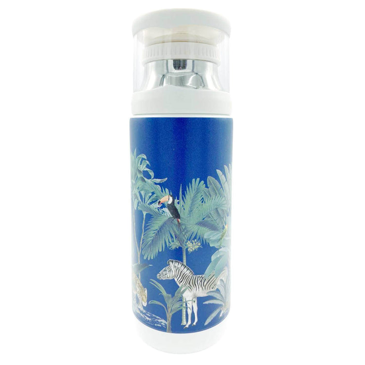 Darwin's Menagerie Scene Navy Vintage Style Flask -   Mustard and Gray Ltd Shropshire