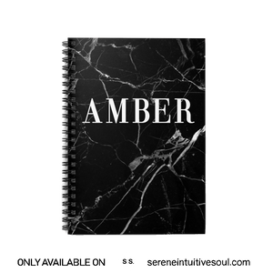Personalised Black & White Marble Initial Spiral Notebook