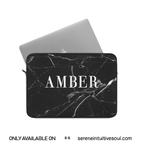 Personalised Black & White Marble Initial Laptop Sleeve