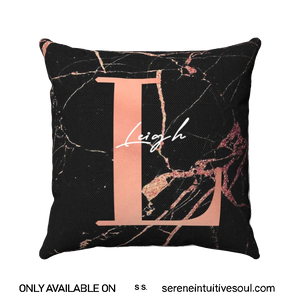 Personalised Black & Rose Gold Marble Initial Square Pillow Cushion
