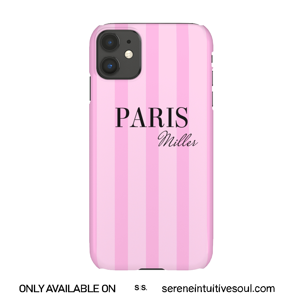 Pink Stripes Personalised Phone Case