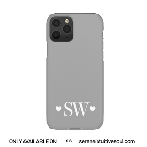 Hearts Initials Personalised Phone Case - in Cool Grey