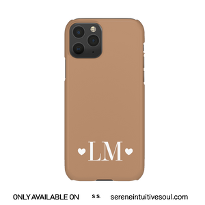 Hearts Initials Personalised Phone Case - in Nude Toffee
