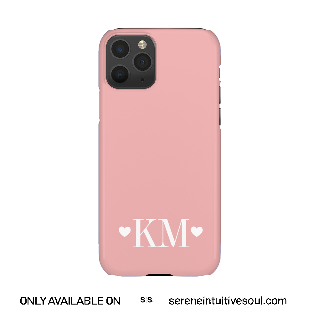 Hearts Initials Personalised Phone Case - in Nude Pink