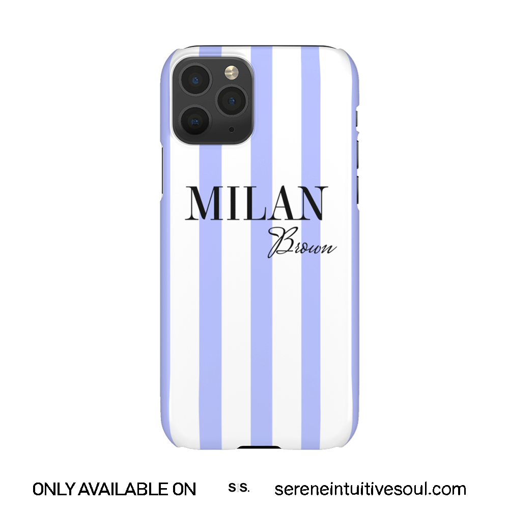 Blue & White Stripes Personalised Phone Case