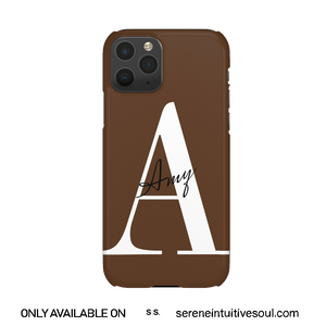 Nude Chocolate Personalised Name + Initial Phone Case