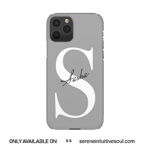 Cool Grey Personalised Name + Initial Phone Case