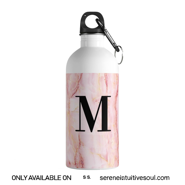 Personalised Pink Marble Initial Water Bottle