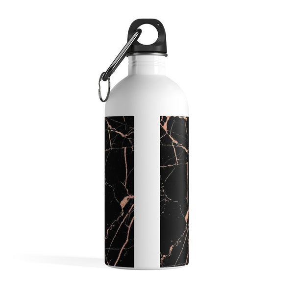 Personalised Black & Rose Gold Marble Initial Water Bottle