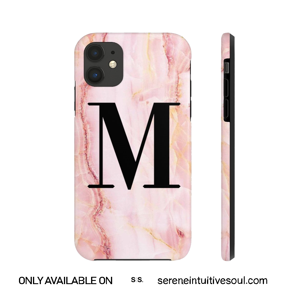 Personalised Pink Marble Initial Tough Phone Case
