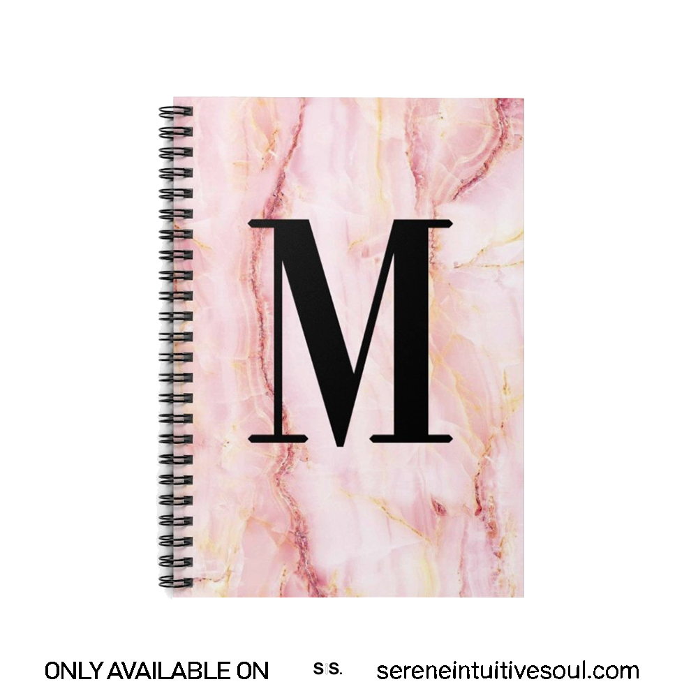 Personalised Pink Marble Initial Spiral Notebook
