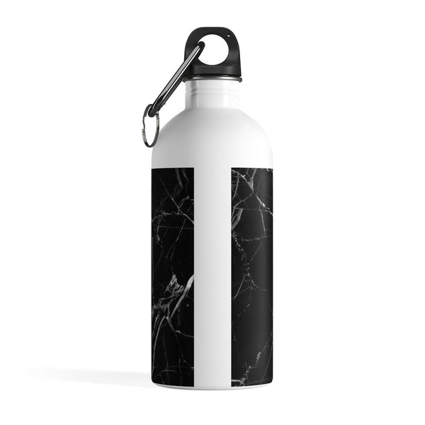 Personalised Black & White Marble Initial Water Bottle