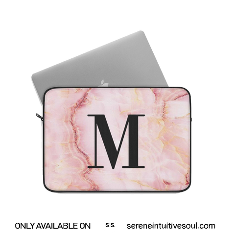 Personalised Pink Marble Initial Laptop Sleeve