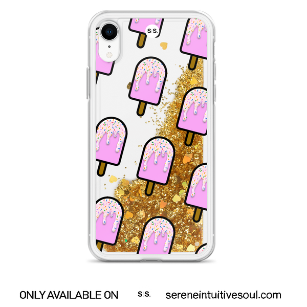 Strawberry Ice Lolly Glitter iPhone Case