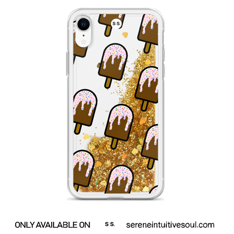 Chocolate Ice Lolly Glitter iPhone Case