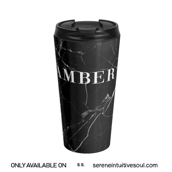Personalised Black & White Marble Initial Travel Mug