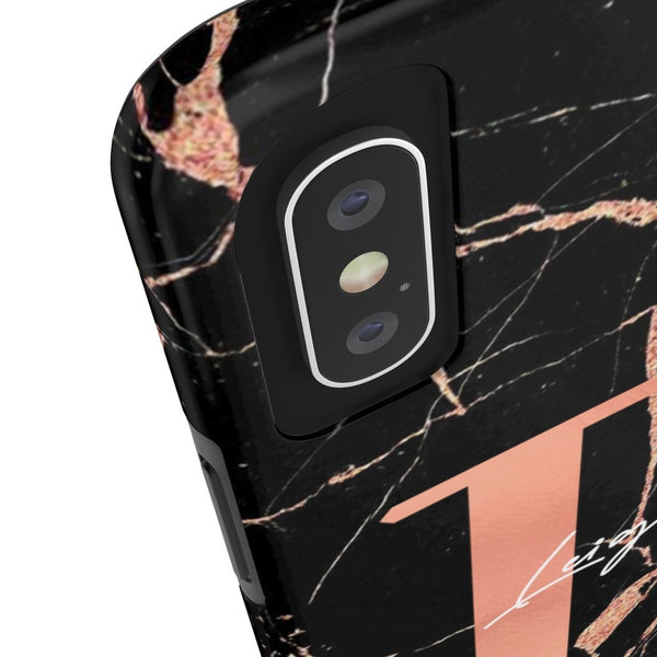 Personalised Black & Rose Gold Marble Initial Tough Phone Case