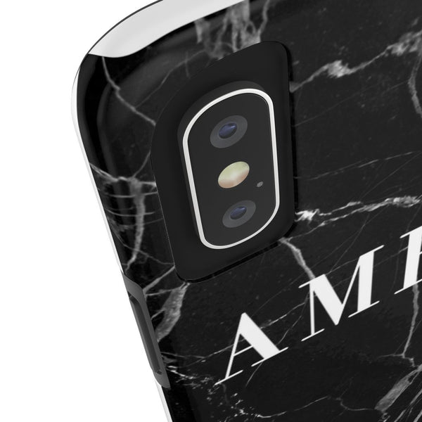 Personalised Black & White Marble Initial Tough Phone Case