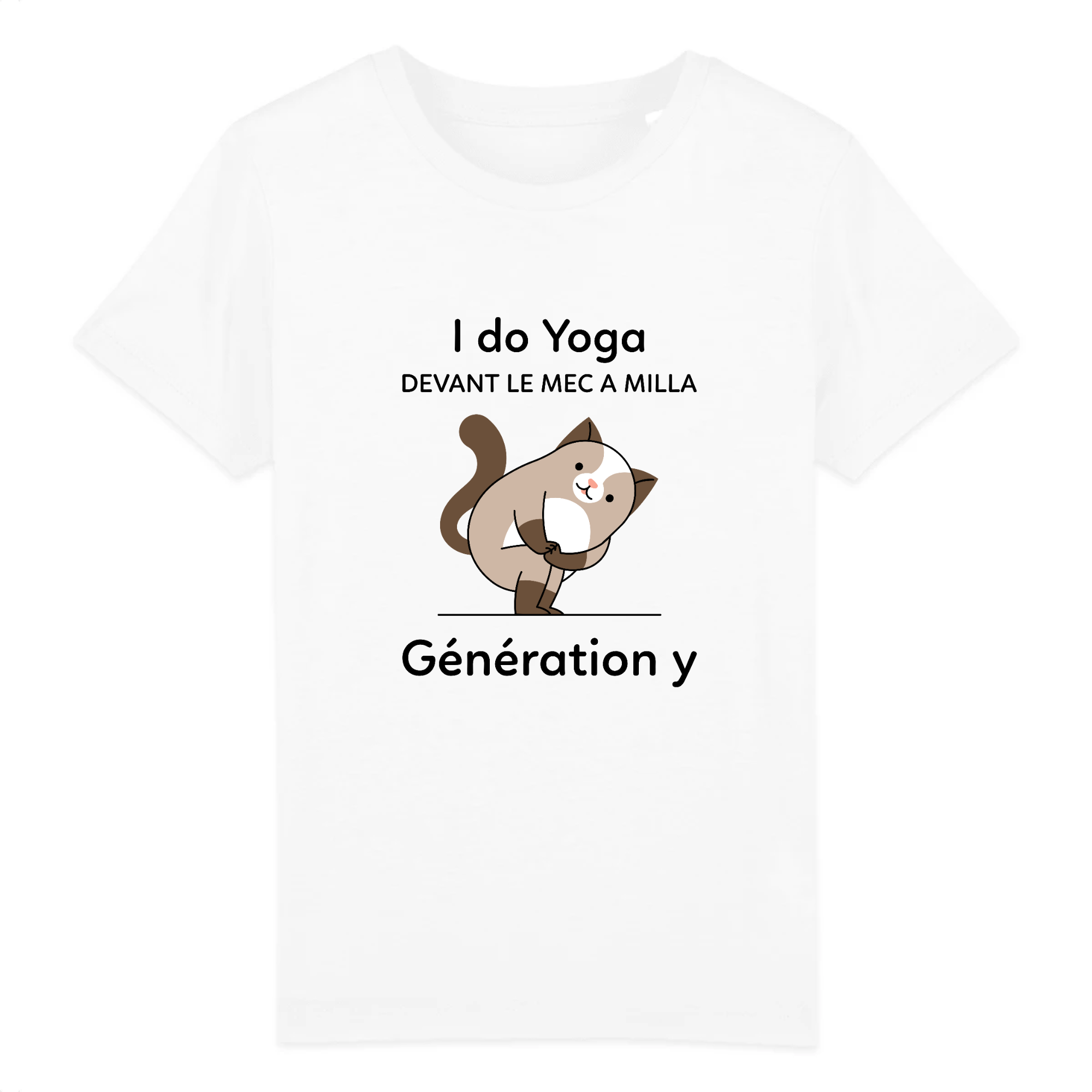 T-SHIRT ENFANT CHAT YOGA IMPRIMÉ
