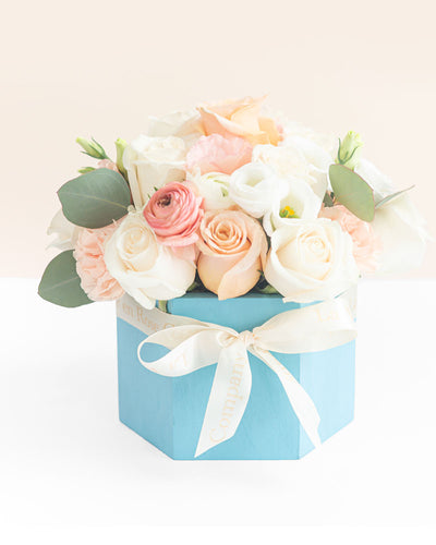 Rose & Floral Arrangement in a Wooden Hexagon Signature Box - Georgia Peach