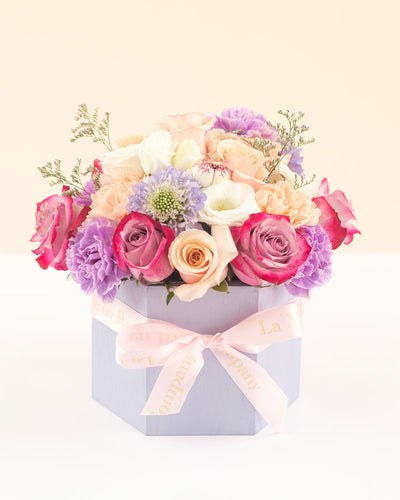 Lilac Bouquet Arrangement in Custom Hexagon Box - Lilac Love