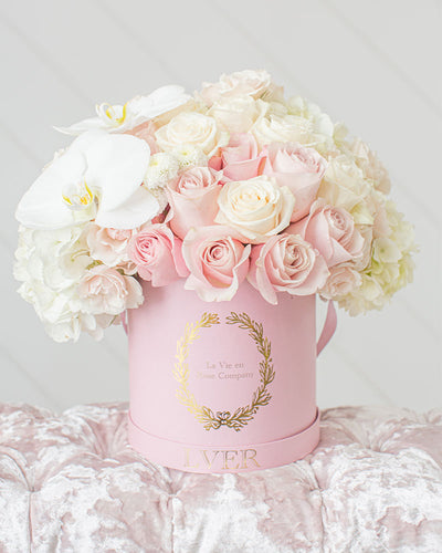 Roses, Pink Sprays, White Pom Buttons, Hydrangeas, and Orchids - Sweet Fleurs